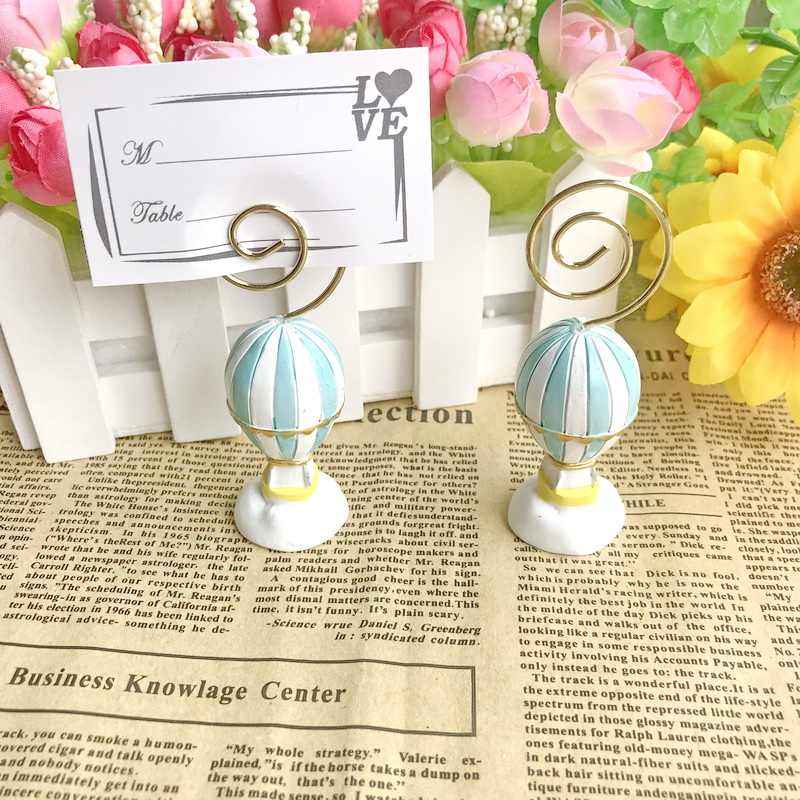 (10pcs/lot)FREE SHIPPING+Wedding Table Decoration Supplies Hot Air Balloon Place Card Holder Photo Holders Baby Shower Favors