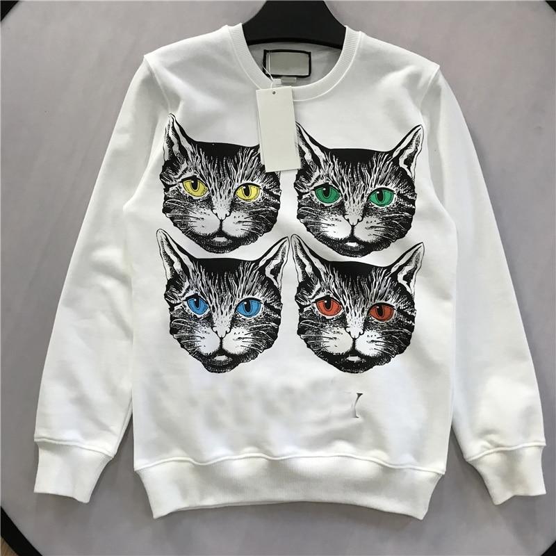 Cute Cotton Hoodies 2018 Fall Designer 4 Cats Print Letter Womens Sweatshirt harajuku Vintage Oversized Casual Hoody Pullover