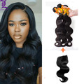 Rosa Hair Products Body Wave Grade 7A Unprocessed Virgin Hair 3 Bundles with Closure Peruvian Virgin Hair With Closure