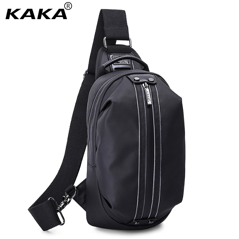 KAKA Brand Design Fashion 100% Waterproof Men Messenger Bags Women Chest Pack Unisex Cross Body Bag Shoulder Bag for Ipad Black