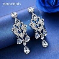 Mecresh Luxe Zilver Kleur Kroonluchter Dangle Oorbellen voor Vrouwen Kristallen Lange Oorbellen Wedding Party Sieraden EH1152
