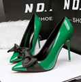 2017 Couro D'orsay Saltos Partido Sapatos Bowtie Bombas de Salto Alto Fino Sexy Top Qualidade Capina Sapatos Apontou Sapatos Mulheres Bombas