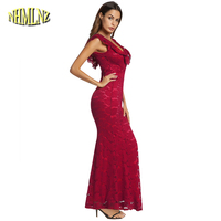 2018 Summer Red Sexy Lace Dress For Women Elegant Mermaid Long Party Dresses Solid Short Sleeve V neck Dress vestido DAN084