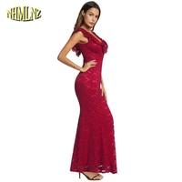 2019 Summer Red Sexy Lace Dress For Women Elegant Mermaid Long Party Dresses Solid Short Sleeve V neck Dress vestido DAN084