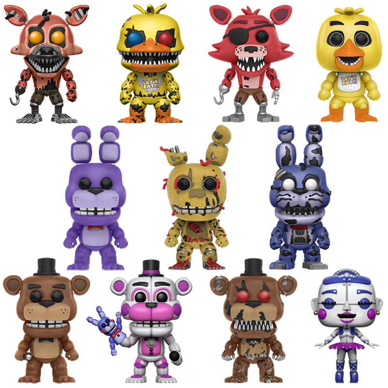 Five Nights At Freddy's 5PCS/Set Action Figure Anime PVC Doll FNAF Puppet Nightmare Chica Bonnie Foxy Freddy 5 Fazbear Bear Toys