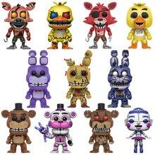 Five Nights At Freddys 5PCS/Set Action Figure Anime PVC Doll FNAF Puppet Nightmare Chica Bonnie Foxy Freddy 5 Fazbear Bear Toys