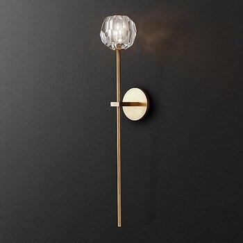Americana Post Moderna RH Loft Led Soggiorno di Rame lampada da parete a Led di Illuminazione Foyer Lampadari di Cristallo Lampada