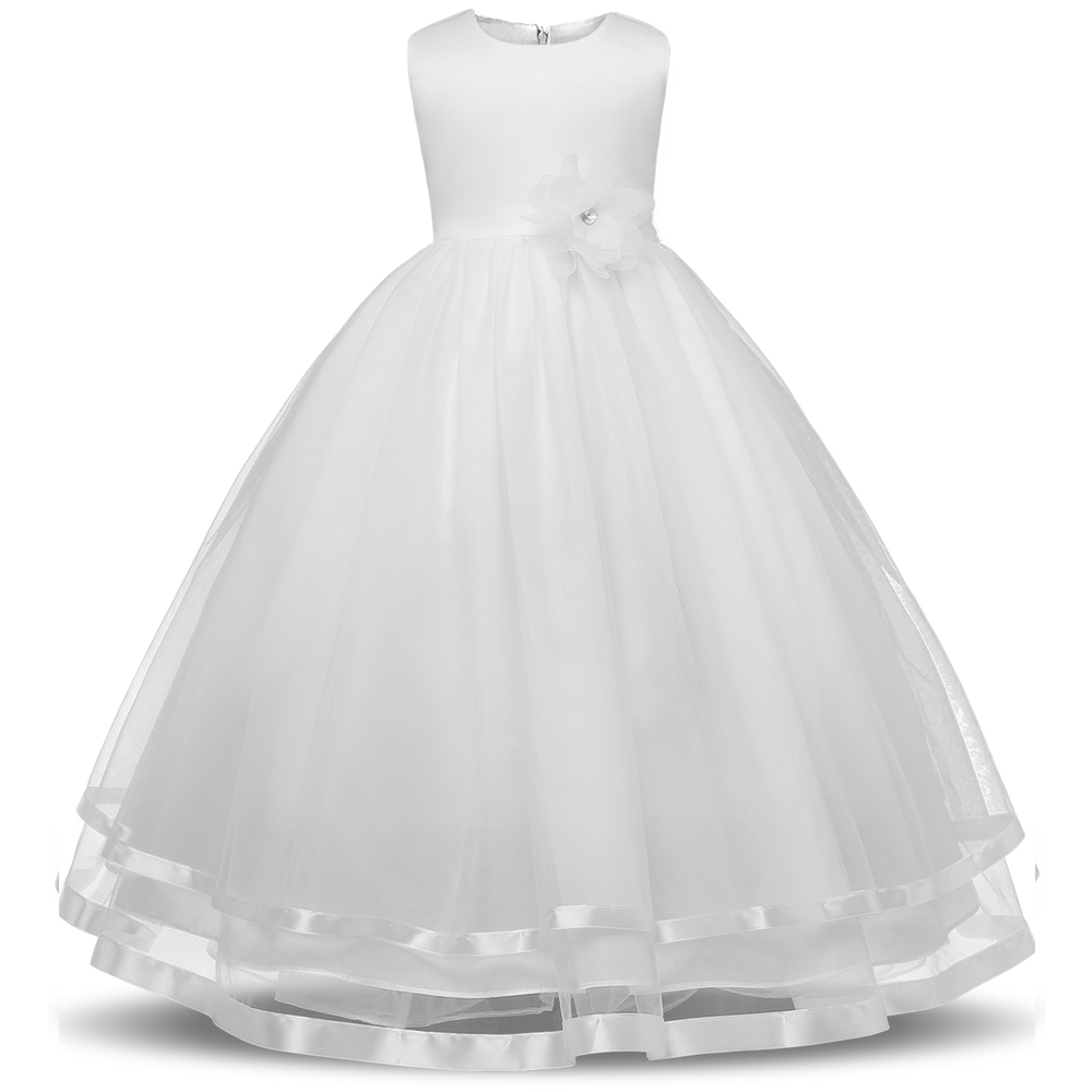 Girls Dresses Summer 2017 Girls Party Wedding Dress for Teens Girl Clothing Kids White Sleeveless Princess Dress with Bow