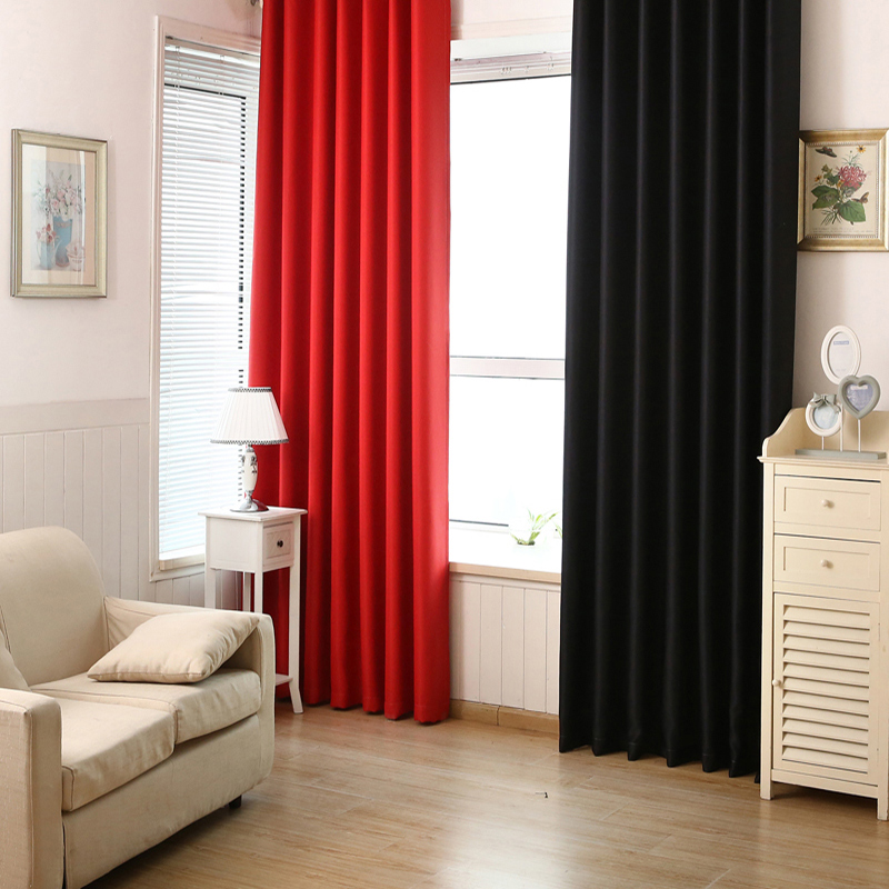 Solid Color Full Blackout Curtains Red