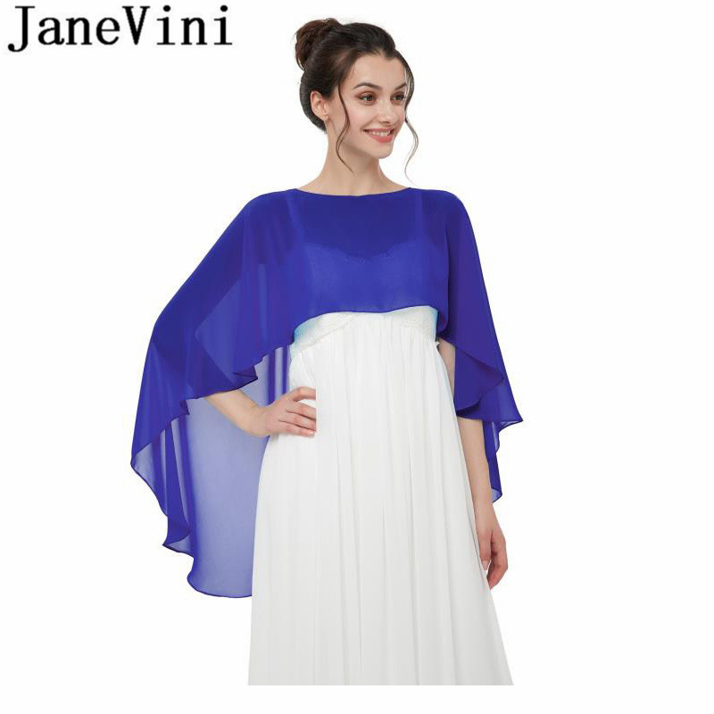 JaneVini 2019 Chiffon Bridal Cape Shawl for Wedding Dress High Low Spring Summer Women Bolero Red White Navy Wraps Stoles