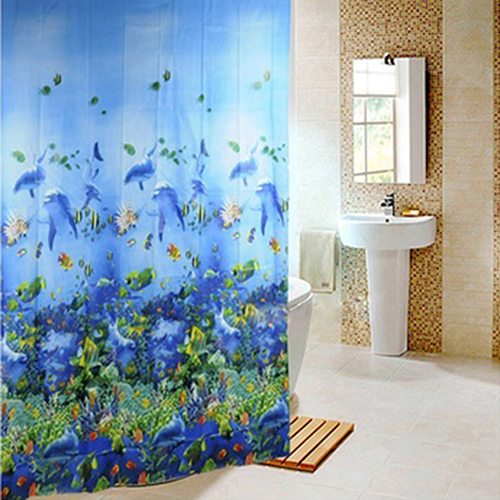 New Blue Deep Sea Fish Pattern Waterproof Shower Bathroom Curtains With 12 Hooks