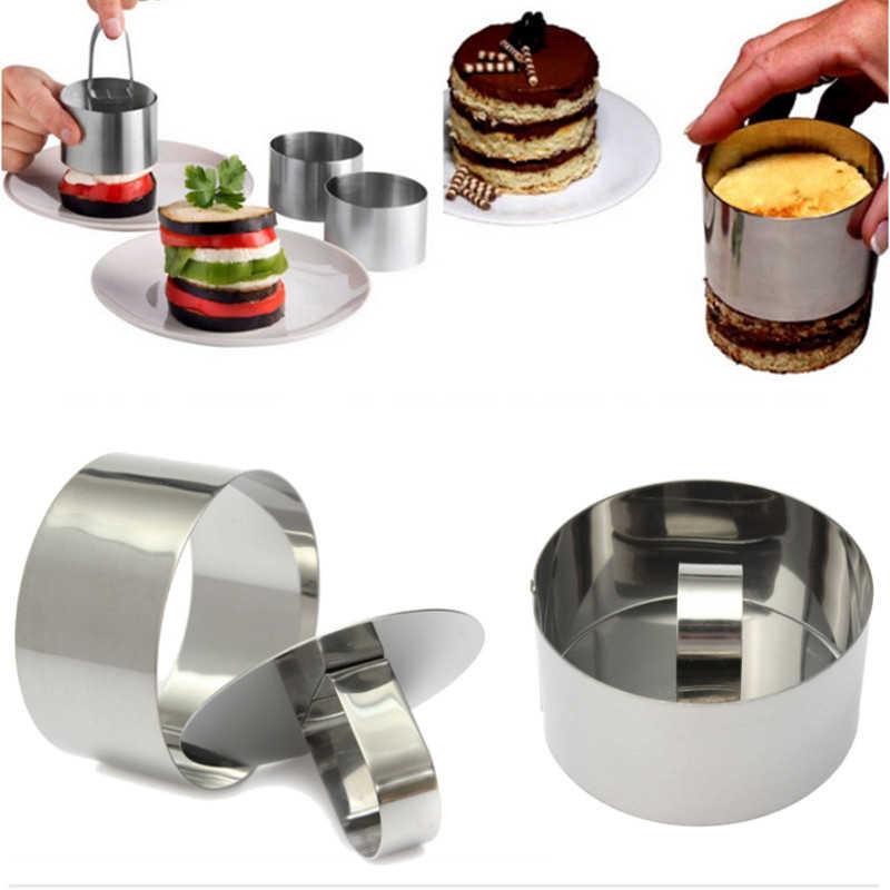 Aomily fai da te Mousse fondente stampo per dolci strumenti di decorazione in acciaio inossidabile anello tondo in argento affettatrice taglierina spinta a mano cottura cottura