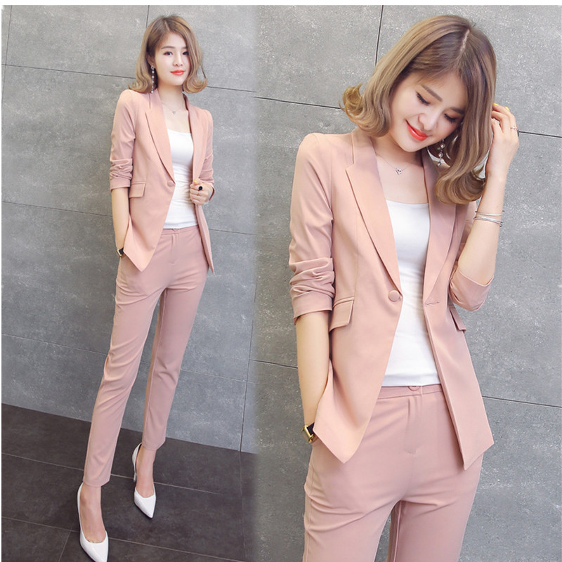 Piece Set Women Black Pink Yellow Red White Pants Suits Cardigan Trousers Autumn Plus Size Office Women Pant Suits