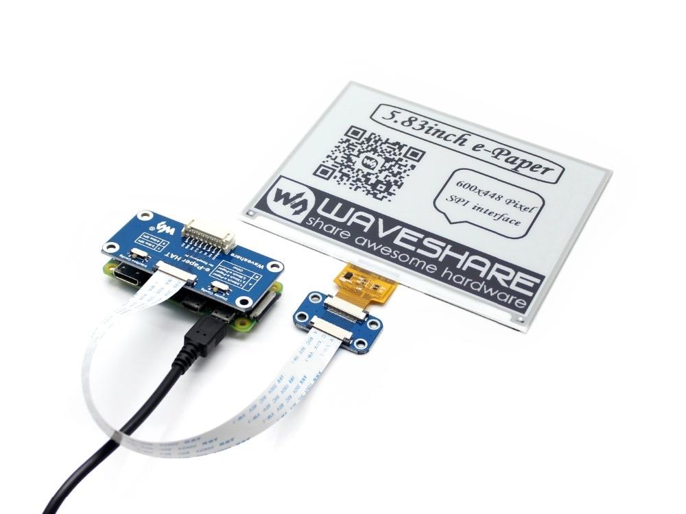 Waveshare 5.83inch E-Ink display HAT SPI interface for Raspberry Pi Zero/Zero W/Zero WH/2B/3B/3B+ black/white two-color display