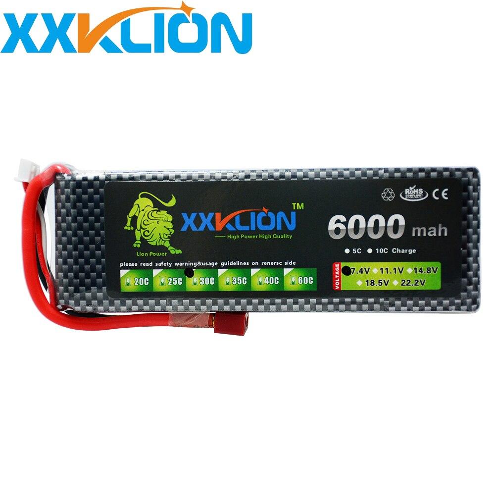 XXKLION 2 S Lipo batterie 7.4 v 6000 mAh 30C pour télécommande hélicoptère rc voiture rc bateau lithium polymère batterie