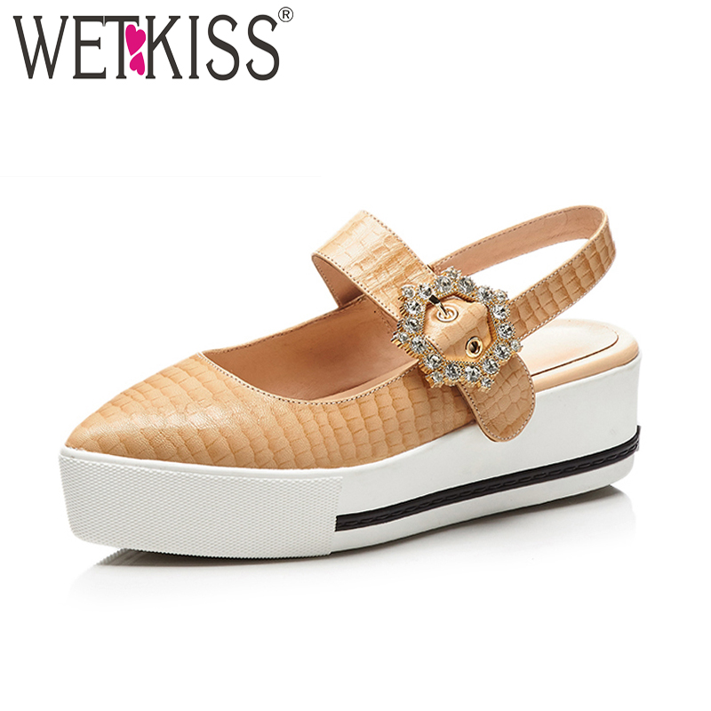 WETKISS Big Size 40 Summer High Heels Women Sandals Pointed Toe Leather Printing Footwear Fashion Casual Platform Female Shoes