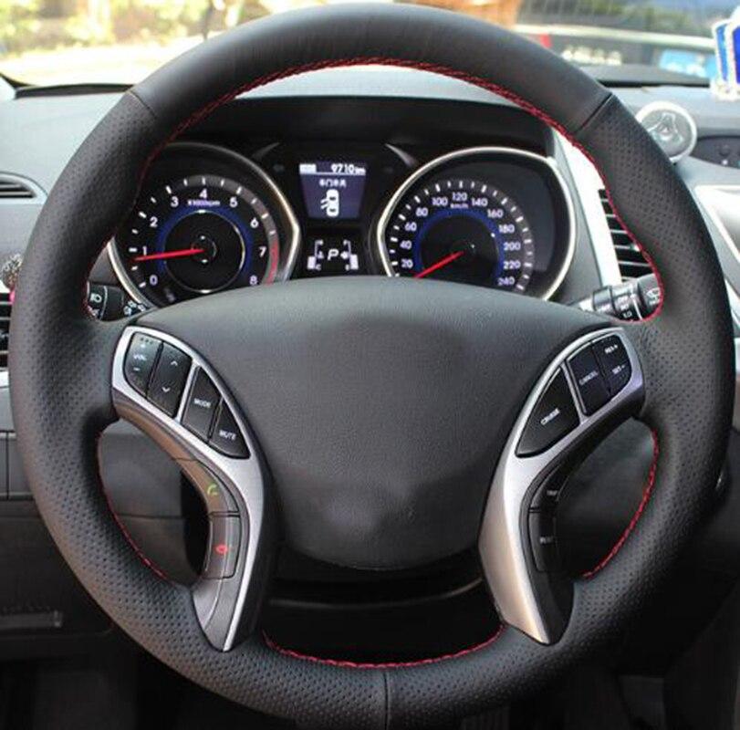 Car-styling Leather Hand-stitched Car Steering Wheel Covers For Hyundai Elantra 2011-2016 Avante i30 2012-2016 Car accessories набор автомобильных экранов trokot для hyundai i30 2 2012 наст время на заднее ветровое стекло