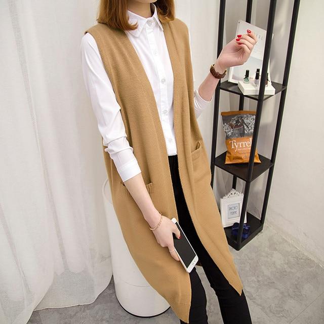 Camisola longa colete feminino tricô cardigan colete senhora 2019 novo outono inverno coreano solto gilet sólido sem mangas jaqueta