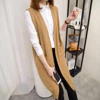 Long pull Gilet femmes tricot Cardigan Gilet manteau dame 2019 nouveau automne hiver coréen Gilet ample solide sans manches veste