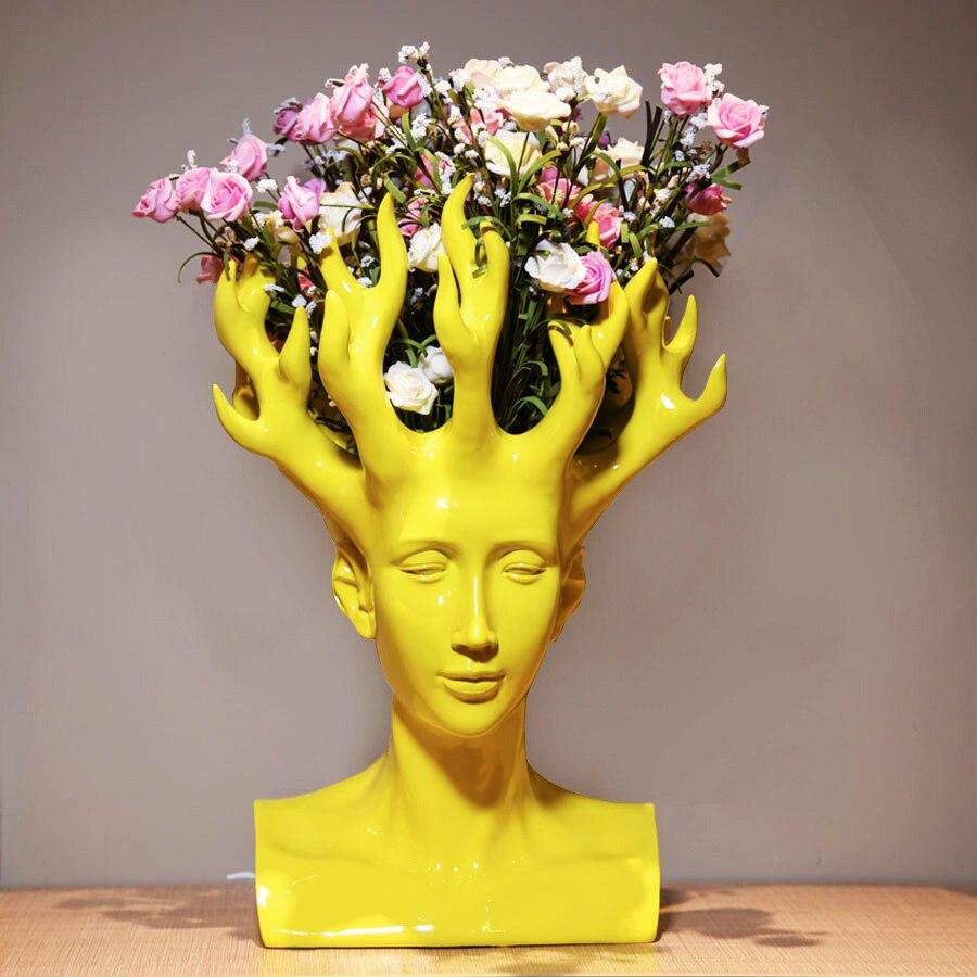 Créatif tête humaine fleur Vase film Figure décor à la maison Art concepteur fleur Arrangement Vase Table Vase