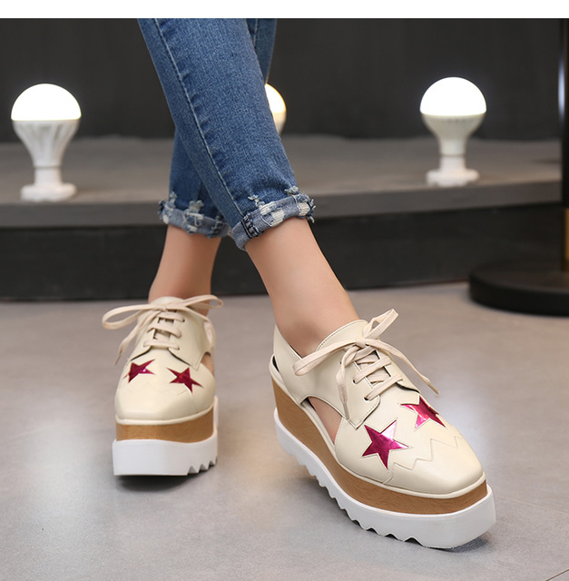088e7e8c6ebf Stylish women lace up hollow sandals wedge casual shoes fashion runway  square toe thick bottom star platform shoes zapotas mujer