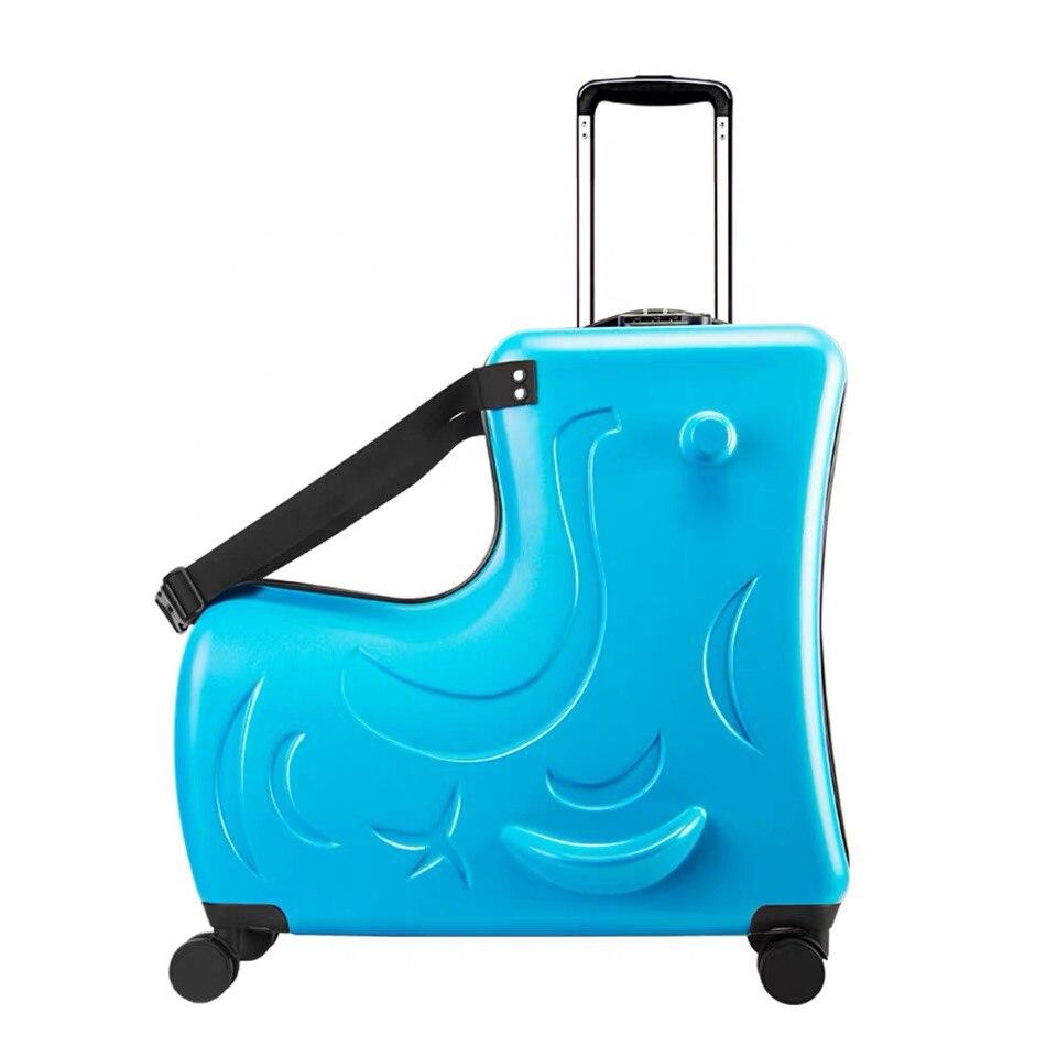 Детский Багаж на колесиках, чемодан на колесиках, детская дорожная сумка с колесиками - Цвет: Blue