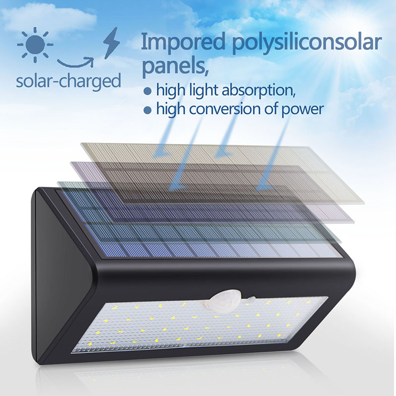 500LM 38LED Solar Panels PIR Motion Senser Lights Garden Solar Led Lamp Yard Paths Wall Outdoor Lighting Waterproof ALUVEE