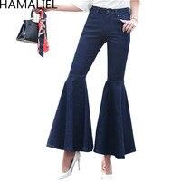 HAMALIEL Women Jeans Flare Pants 2018 Summer Flounced Cuffs High Waist Jeans Pants Casual Package hip Blue Pocket Trousers Jean