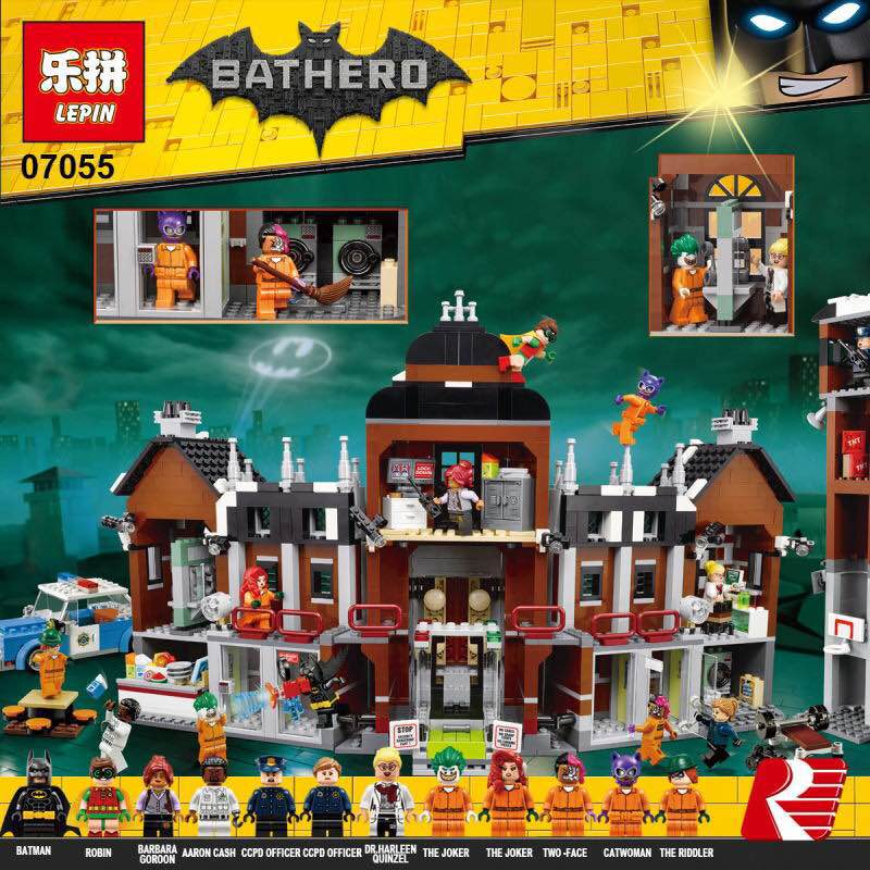 New 1628Pcs Lepin 07055 Genuine Series Batman Movie Arkham Asylum Building Blocks Bricks Toys with 70912 puzzele gift for kids кровать из массива дерева xie furniture 2