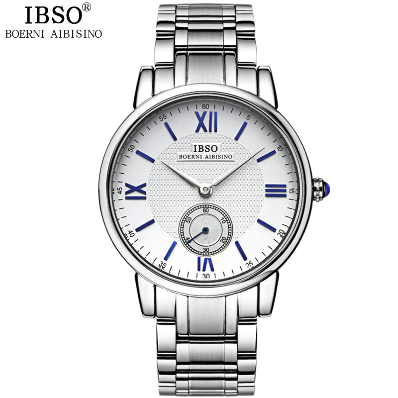 IBSO Top Brand Luxury Mens Watches 2018 Quality Stainless Steel Watch Men Fashion Business Quartz Wristwatches Relogio Masculino mens watches luxury top brand big dail quartz watch men temeite stainless steel gold men s wristwatches calendar male relogio