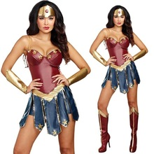 Vendita calda di Halloween Wonder Women Costume Cosplay Superwoman Ruolo Che Gioca Vestito Diana Principe Fancy Dress + Headwear + fascia Da Polso