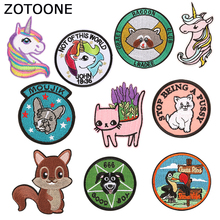 ZOTOONE Cartoon Animals Patches on Clothes Unicorn Patch Supplies Diy Creative Badges for Kids Jacket Iron Sticker Decoration
