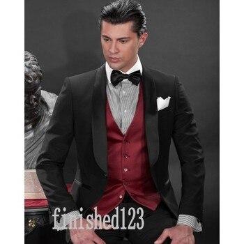 New Design One Button Black Groom Tuxedos Groomsmen Men's Wedding Prom Suits Custom Made (Jacket+Pants+Vest+Tie) K:32