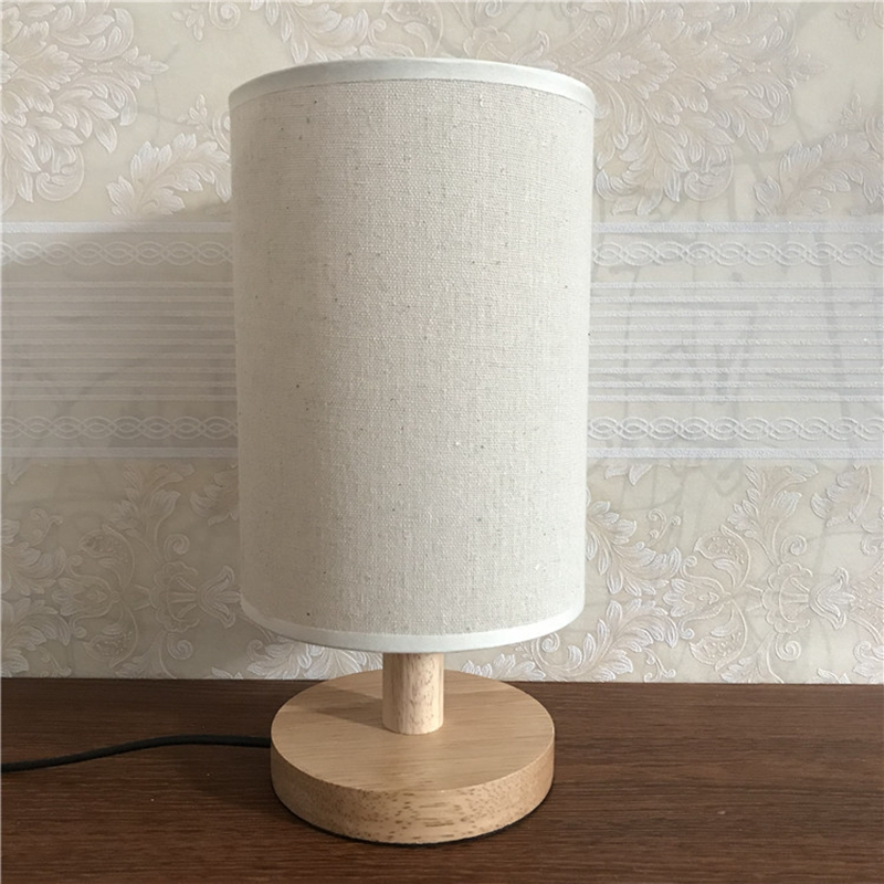 Lights & Lighting Lukloy Asian Linen Solid Wood Table Lamp Straight Barrel Bedroom Beside Nordic Simple Creative Personality Gift Custom Logo Lamp