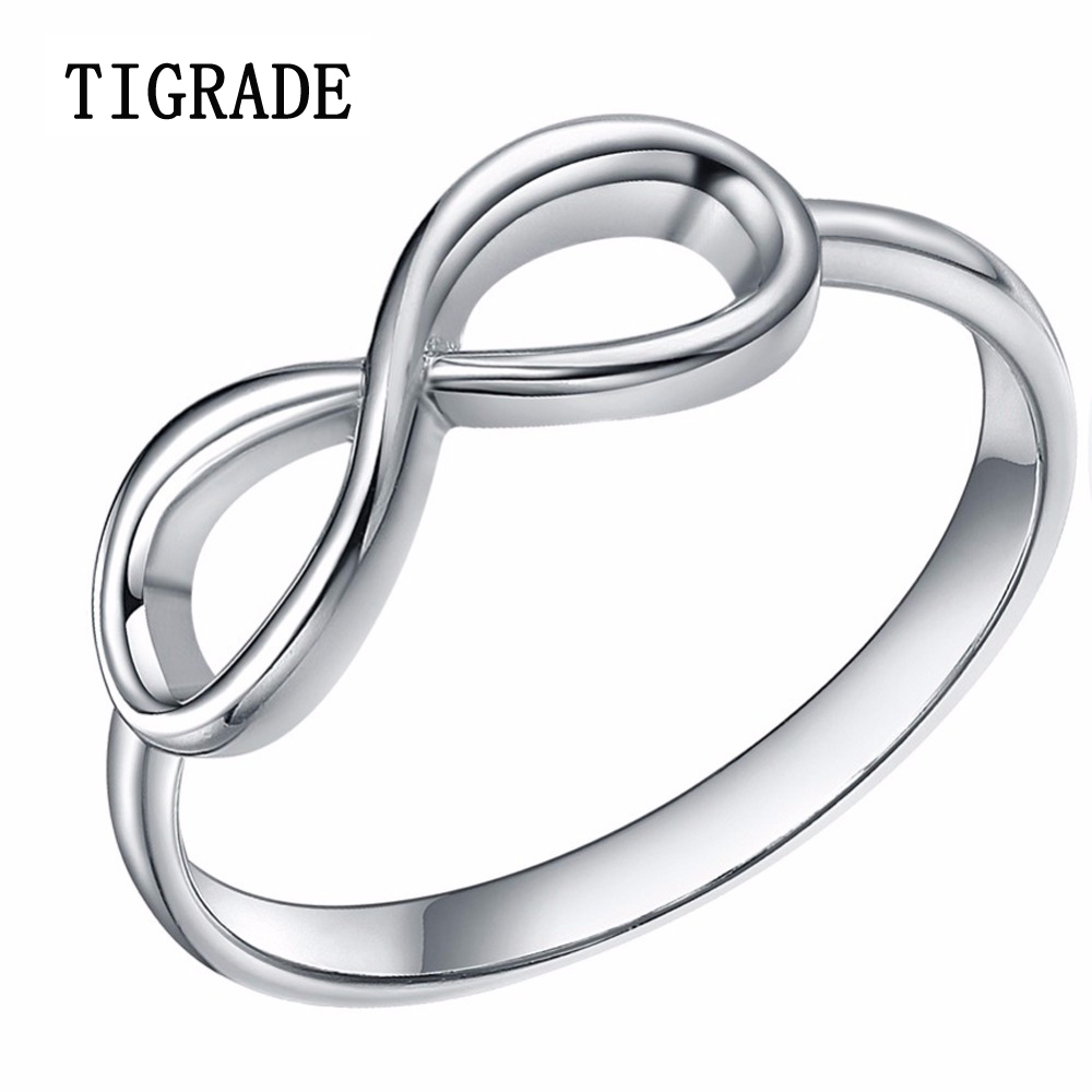 ⊱925 Sterling Silver Rings Women Cross Infinity Wedding Band