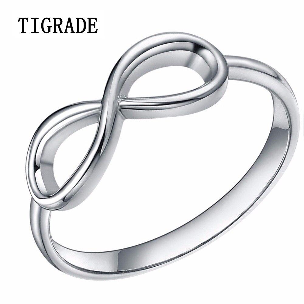 925 Sterling Silver Rings Women Infinity Uzel Snubní prsten Zásnubní prsten Jednoduché prohlášení Šperky anillos plata mujer 925