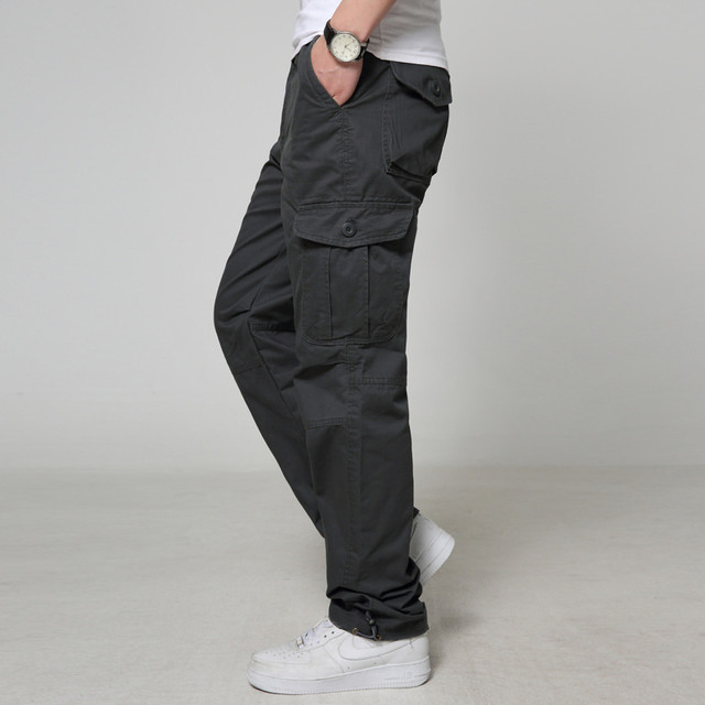 Men's casual new design cotton cargo pants loose autumn pockets high waist zipper full length pants