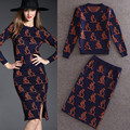 2016 sets Autumn ladies suits new woven kangaroo sets pattern Slim knit tops + slits skirt suits