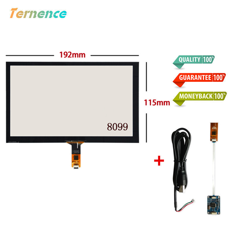 skylarpu Capacitive touchscreen 192mm*115mm touch screen panel Glass Digitizer handwritten Touch driver board set USB cable стоимость