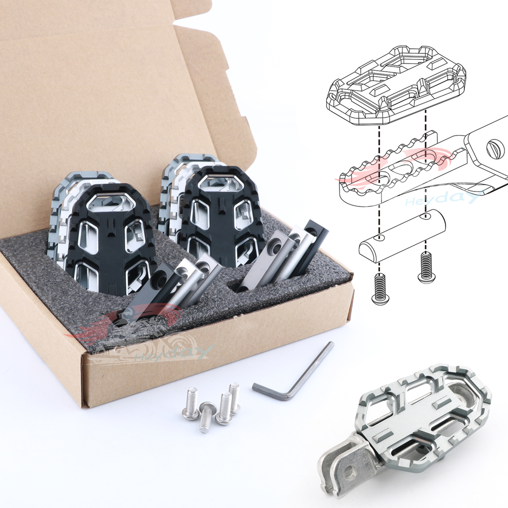 CNC Billet Wide Foot Pegs Pedals Rest Footpegs for BMW F750GS F850GS G310GS R1200GS S1000XR R Nine T Scrambler R nine T Urban/GS image