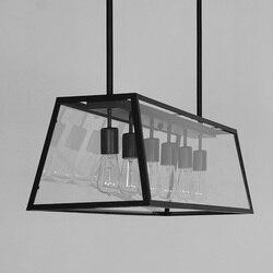 W stylu Vintage czarny szklane pudełko lampa wisząca światła żyrandol oświetlenie led hanglamp loft decor u nas państwo lampy oprawy oświetleniowe salon sypialnia w Wiszące lampki od Lampy i oświetlenie na