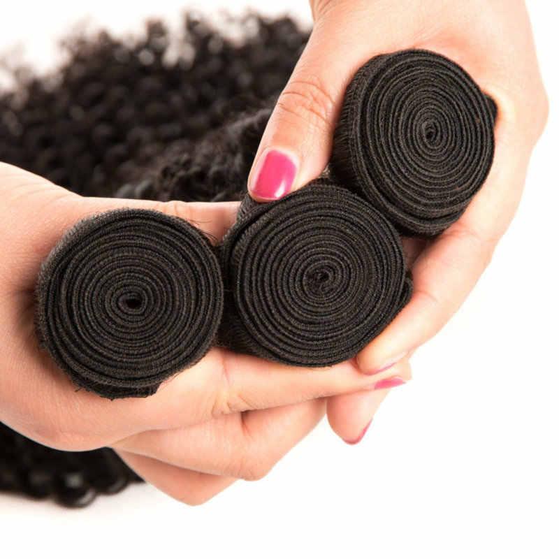 Бразильские кудрявые вьющиеся волосы Yavida 100% человеческие бразильские кудри не волосы Накладные натурального цвета переплетения натурального черного цвета для волос расширение