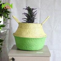 wcic-handmade-seagrass-flower-basket-rattan-belly-artificical-flower-green-plant-bonsai-planter-nursery-pot-garden-supplies
