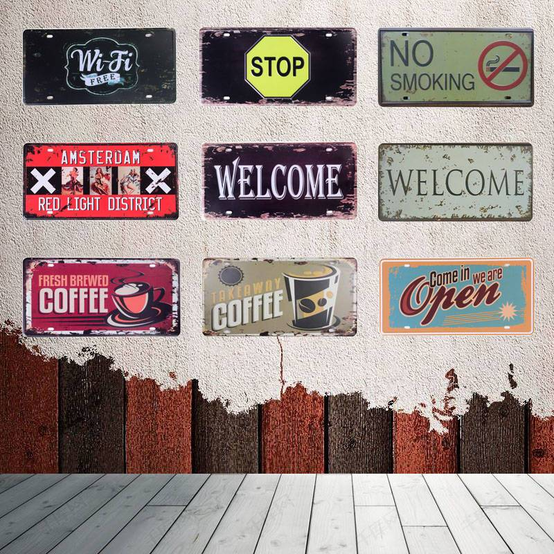 NO Smoking Metal Painting Sign Tin Signs Vintage Garage License Plate Plaque Poster Bar Club Style Iron Wall Decor 30*15CM C6
