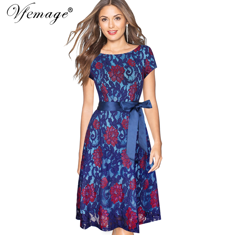 c0f5a88d6783 Vfemage Womens Elegant Floral Lace Contrast Belted Bow Tunic Vintage Party  Bridesmaid Mother of Bride Swing Skater Dress 7343