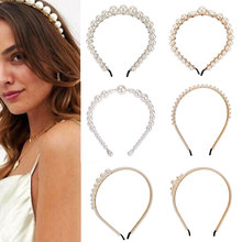 Fashion pearl headband wild personality big crystal hairband women girls bride zircon stone wedding party hair accessories