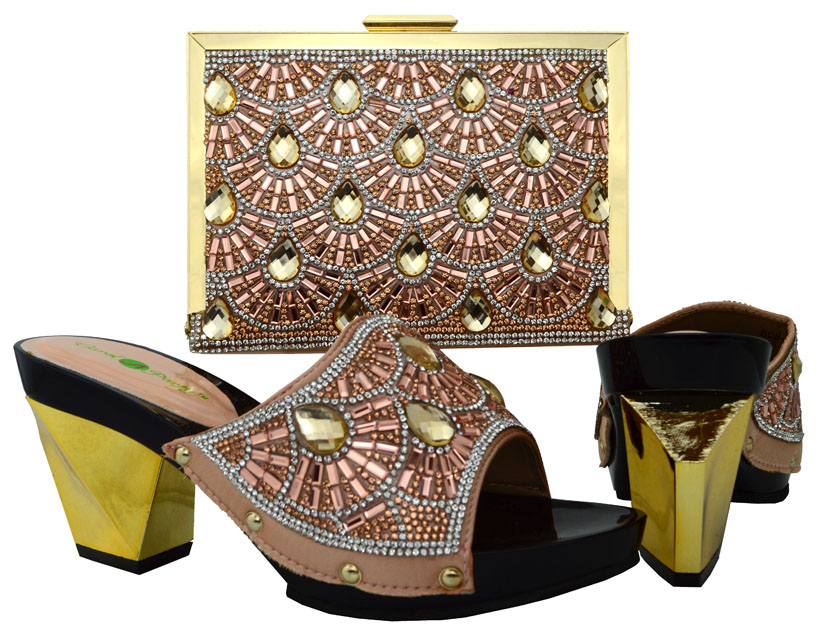 ФОТО African Women Italian Matching Shoe And Bags Set With Rhinestones High Quality Champagne African Wedding Shoes And Bag BCH-17