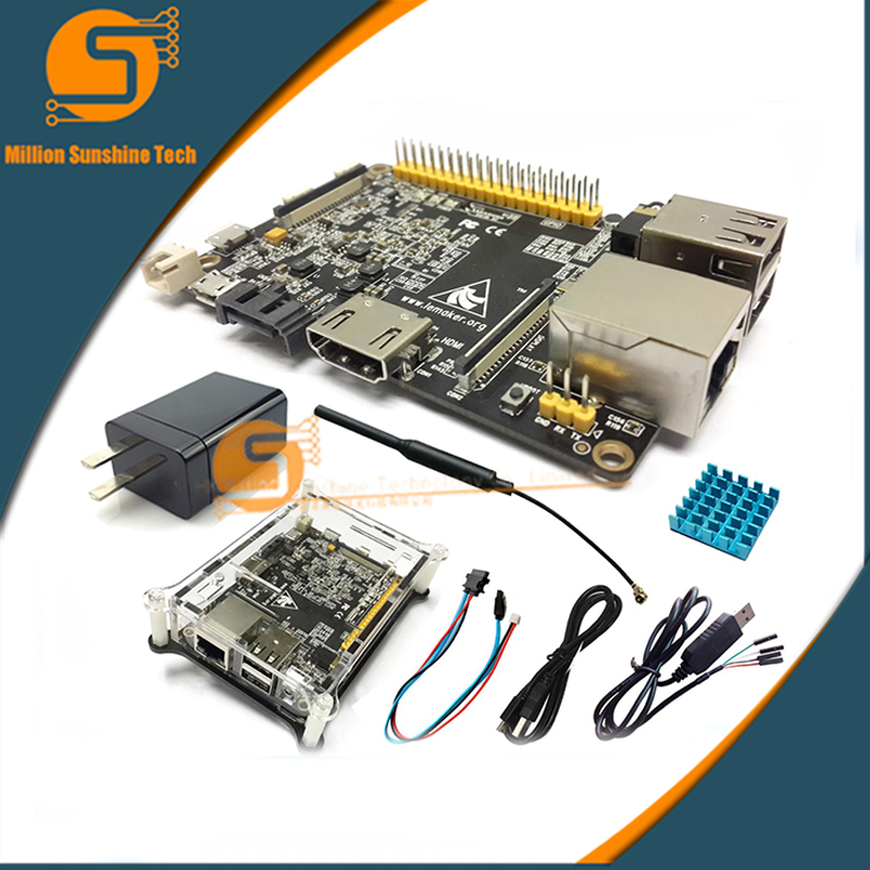 New Banana Pro computer + Transparent Case box + Ceramic Heat Sink + 5v 2A Power + Sata Line Banana Pi Pro+TTL Serial Line цена