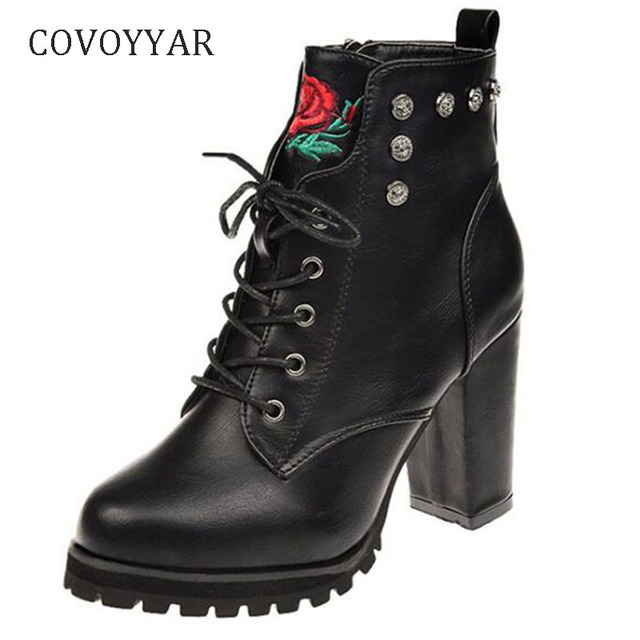 COVOYYAR 2019 Chic Embroidered Women Boots Autumn Winter Side Zip Lady Chunky High Heels Cross Tied Platform Ankle Boots WBS992