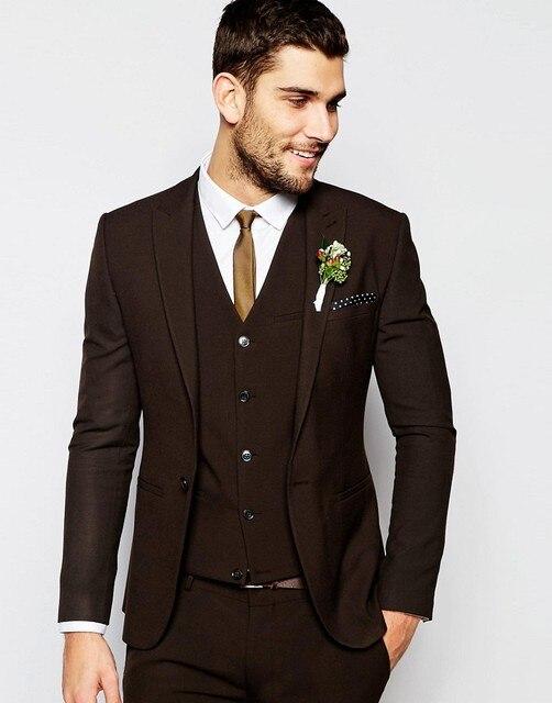 Center Vent Groomsmen Shawl Lapel Groom Tuxedos Dark Brown Men Suits Wedding Best Man Blazer